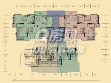 100平方4房一厅设计图